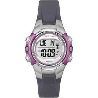 Marathon by Timex Women's Digital Mid-size Gray/ Silvertone/ Pink Watch