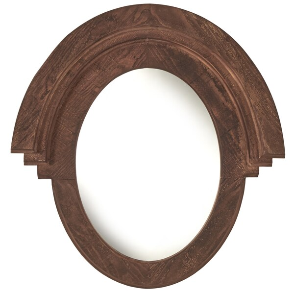 Western Style Oval Dark Brown Wood Wall Mirror