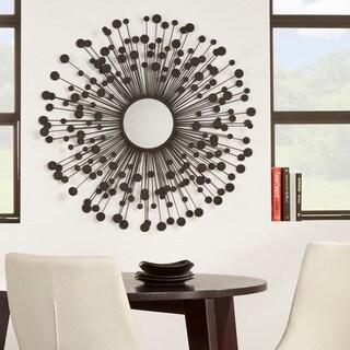 Black Orbits in Sunburst Metal Wall Mirror