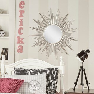 Silver Sunburst Metal Wall Mirror