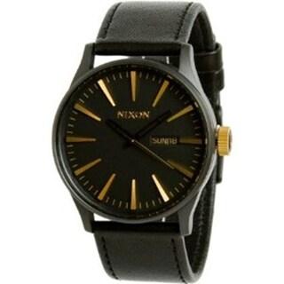 Nixon Men's A1051041 Black Leather Quartz Watch