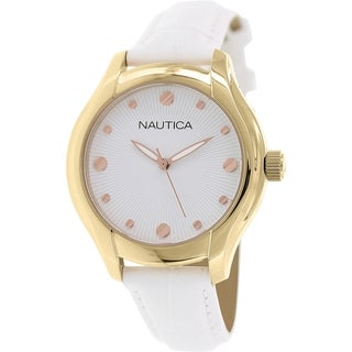 Nautica Women's Nct 18 N11633M Navy/ Off-white Linen Leather Automatic Watch