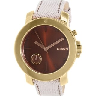 Nixon Women's Raider A3171155 Goldtone Leather Quartz Watch