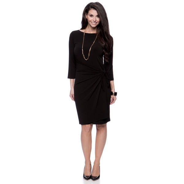 Jones New York Women's Missy Black 3/4 Sleeve Boat Neck Wrap Dress