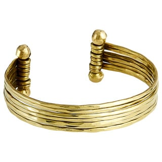 Handcrafted Hammered Goldtone Metal 7-row Cuff Bracelet (India)