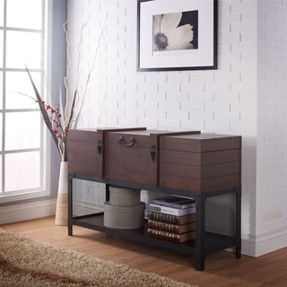 Furniture of America Trueman Trunk Style Vintage Walnut Entryway Table
