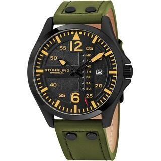 Stuhrling Original Men's Quartz Aviator Leather Strap Watch