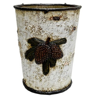 HiEnd Accents Birch Pinecone Waste Basket