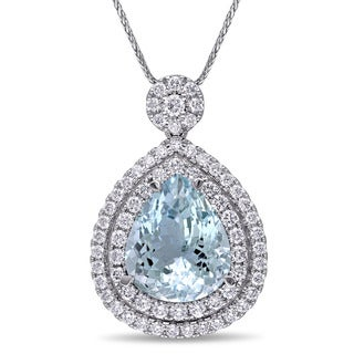 Miadora 14k White Gold Aquamarine 1 1/2ct TDW Diamond Necklace (G-H, SI1-SI2)