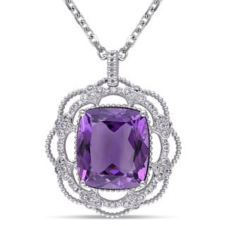 Miadora 14k White Gold Amethyst and 1ct TDW Diamond Necklace (G-H, SI1-SI2)