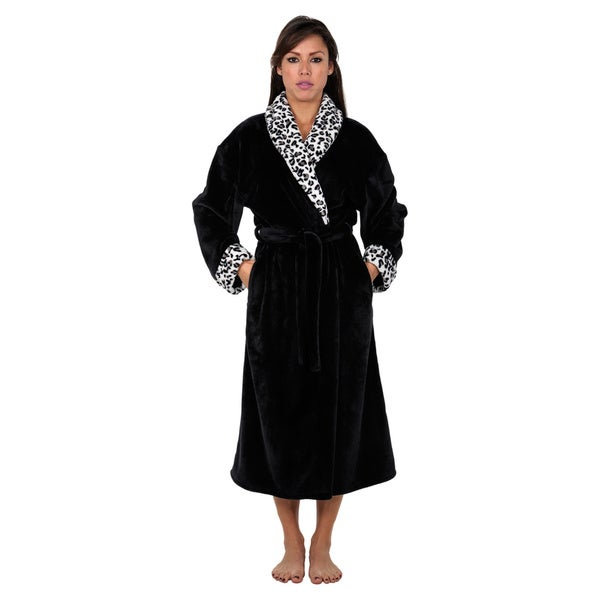 Super Mink Leopard Print Shawl Collar Robe
