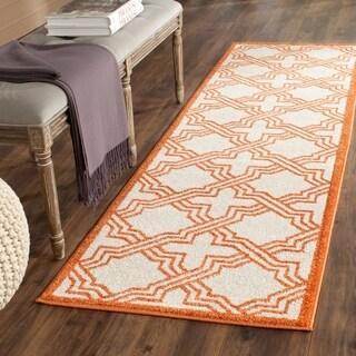 Safavieh Indoor/ Outdoor Amherst Ivory/ Orange Rug (2'3 x 7')