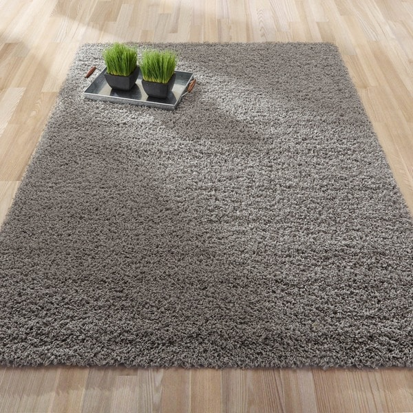 Ultimate Shaggy Collection Ivory/ Grey/ Blue/ Brown Contemporary Solid Design Shag Area Rug (8'2 x 9'10)