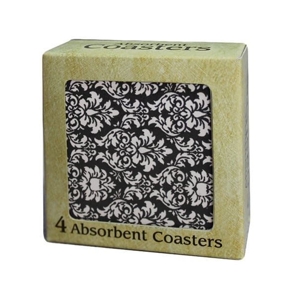 Absorbent Stone Coaster Set of 4, Black & White Damask