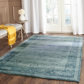 Safavieh Vintage Light Blue/ Dark Blue Viscose Rug (4' x 5'7)