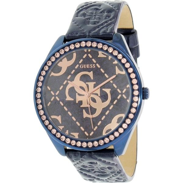 Guess Women's U0473L1 Blue Leather Quartz Watch
