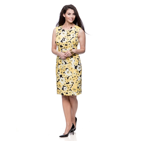 Jones New York Missy Lemon Floral Print Belted Sheath Dress
