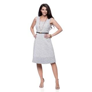 Jones New York Missy Navy and White Circle-skirt Dress