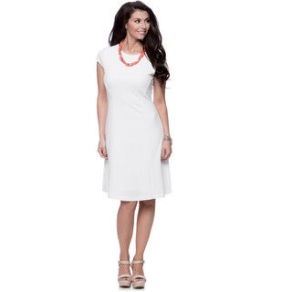 Jones New York Missy Cap Sleeve Crew Neck Dress