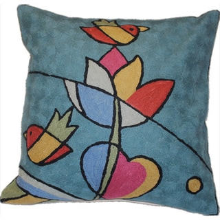 Handmade Two Bird Chain-stitch Accent Pillow (India)