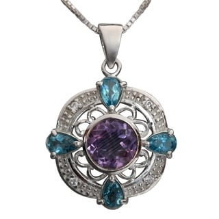 Sterling Silver Amethyst and Tear-drop Blue Topaz Filigree Necklace (Thailand)