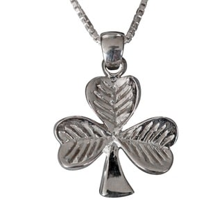Sterling Silver Simple Shamrock Necklace (Thailand)