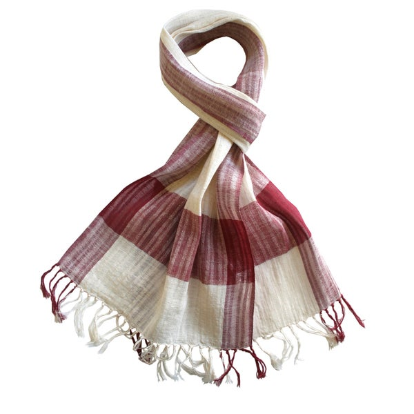 Sustainable Threads Hand-woven Red Cherries and Cream Plaid Scarf (India)