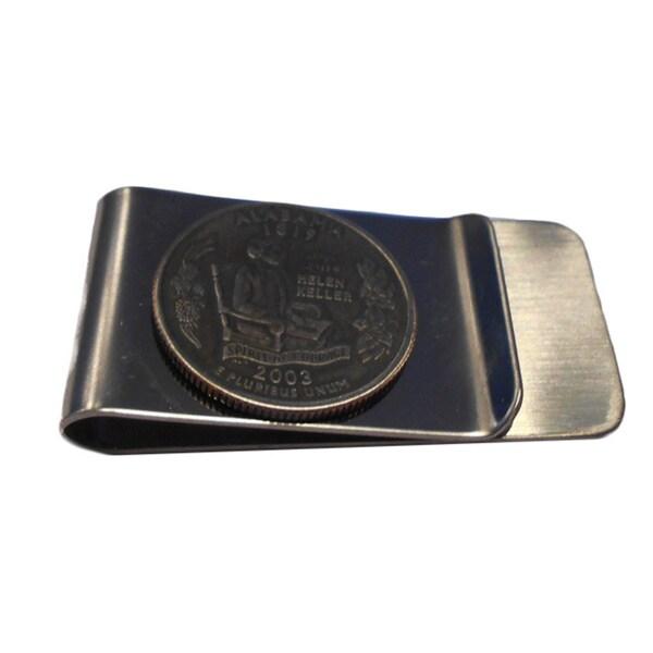 Handmade Alabama State Quarter Coin Money Clip