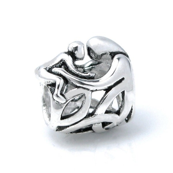 Queenberry Sterling Silver Mother Baby Forever Love Hug Celtic Family European Bead Charm