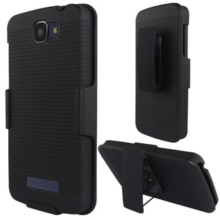 Insten Black Hard Snap-on Rubberized Matte Phone Case Cover with Holster For Alcatel One Touch Fierce 2 7040T