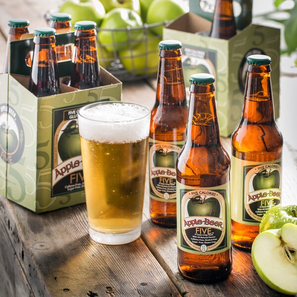 Apple Beer Co. 'FIVE' 5-calorie Gluten Free Alcohol-free Glass Bottle Apple Beer (Package of Eight)