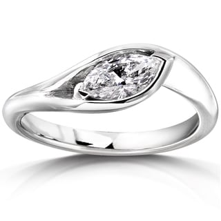 Annello 10k White Gold 5/8ct TDW Certified Marquise-cut Diamond Ring (G, VS)