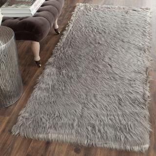Safavieh Handmade Faux Sheep Skin Grey Acrylic Rug (2'6 x 6')
