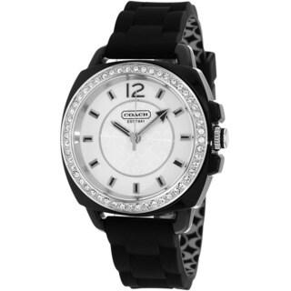 Coach Women's 14501475 Boyfriend Round Black Silicone Strap Watch