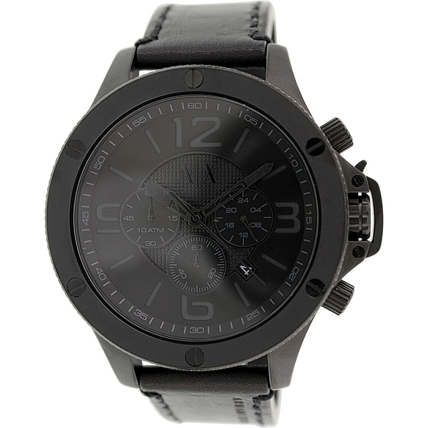 Armani Exchange Men's AX1508 Black Leather Quartz Watch