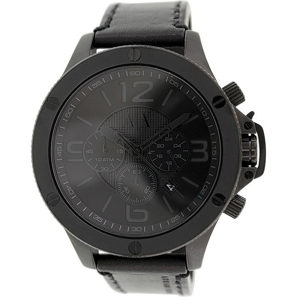Armani Exchange Men's AX1508 Black Leather Quartz Watch