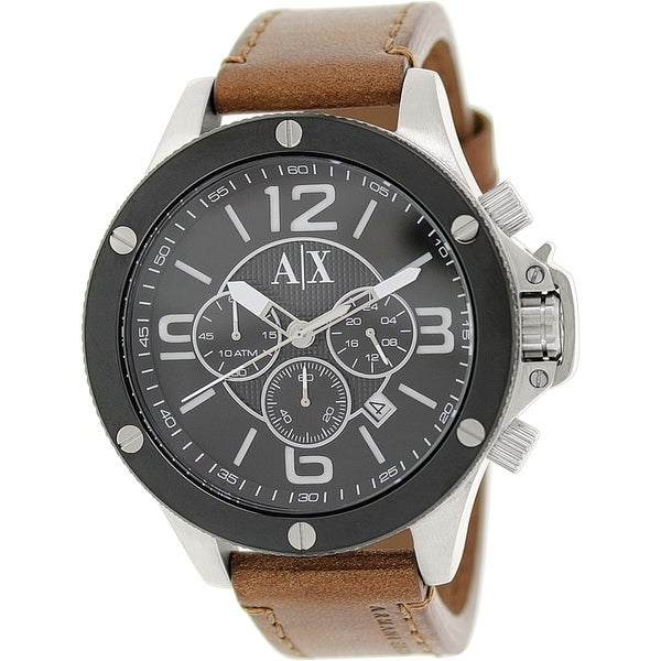 Armani Exchange Men's AX1509 Brown Leather Quartz Watch