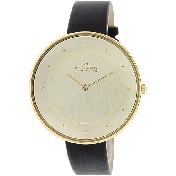 Skagen Women's Gitte SKW2262 Black Leather Quartz Watch