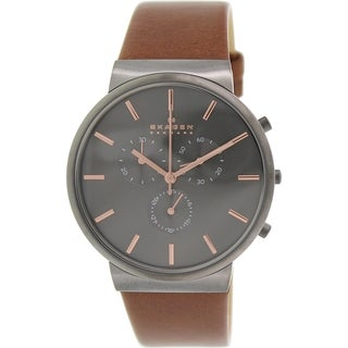 Skagen Men's Anchor SKW6106 Gunmetal Leather Analog Quartz Watch