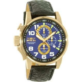 Invicta Men's Force 13055 Black Leather Swiss Chronograph Watch