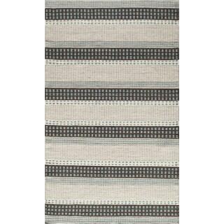 Hand-woven Wool Sorrel Dashes Reversible Indoor Rug (9' x 12')