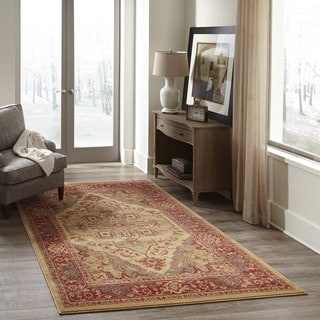 Momeni Power-loomed Global Trends Heriz Beige/ Navy Polypropylene Area Rug (7'10 x 9'10)