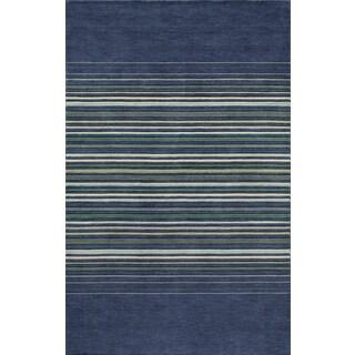 Momeni Power-loomed Loft Stripes Blue and Grey Wool Area Rug (7'6 x 9'6)