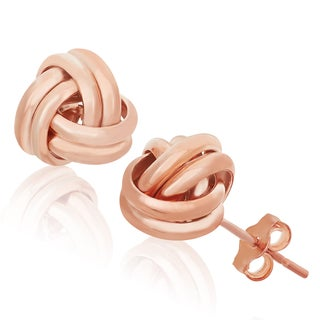 Gioelli Rose Gold over Sterling Silver Love Knot Stud Earrings