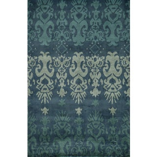 Hand Tufted Blue Abstract Rug 7 6 X 9 6 13293477