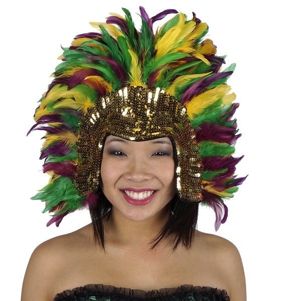 Coque Feather Headdress Multi with Sequins Mardigras