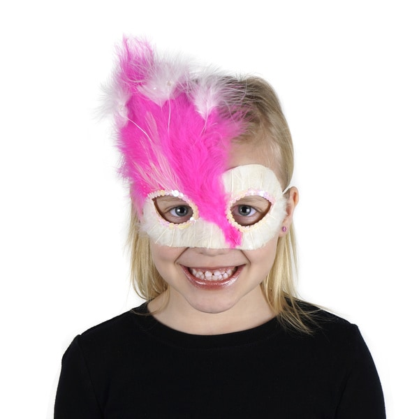 Pink-White Feather Mask