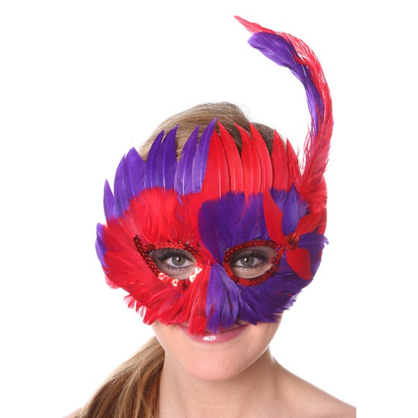 Half Red-Regal Feather Mask