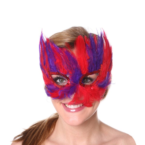 Mixed Red-Regal Feather Mask