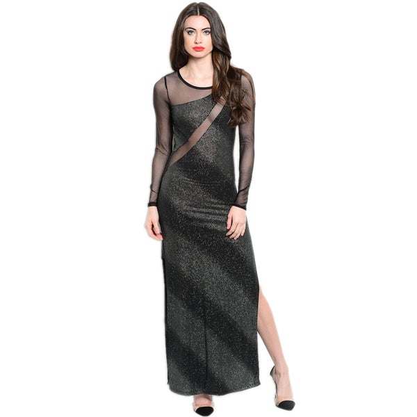 Shop The Trends Women's Long Sleeve Maxi Dress With Sheer Mesh Back And Thigh-High Side Slit